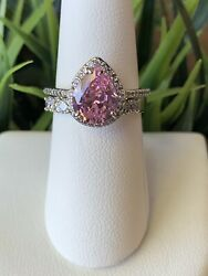 Ring Bomb Party Size 7 October Birthday Pink And White Topaz Ring $21.00