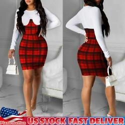 Womens Slim Long Sleeve Plaid Check Mini Dress Bodycon Christmas Party Dresses $16.52