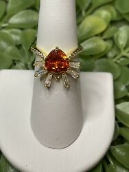 Ring Bomb Party Size 6 Egyptian Sunburst Orange Sapphire Topaz Ring $32.00