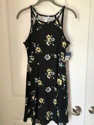 Arizona Jean Company Sun Dress Womens Size M Black Multi Floral Print NWT $22.00