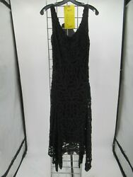 L4931 VTG Cache Women#x27;s 80#x27;s Sleeveless Lace Midi Cocktail Dress Size 10 $19.99