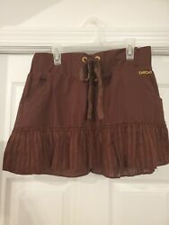 Bebe Womens Size Small Drawstring Mini Skirt Brown Cotton $9.95