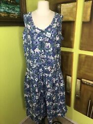 Womens Vtg 80s Floral Dress Summer Midi Sleeveless Trend Basics Blue Cotton XL $20.00
