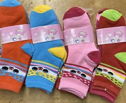 12 Pairs Girls Socks Kids Designs Size 4 6 Mixed Assorted Fashion Colors $9.99