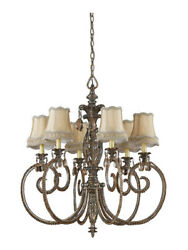 Mardi Gras 6 Light 33quot; Dia. Chandelier Antique Pewter Silver amp; Gold Highlights $210.00