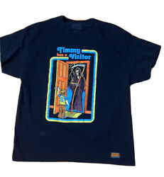 TIMMY HAS A VISITOR SHIRT STEVEN RHODES GRAPHIC SHIRT XL BLACK RARE OFFICIAL $15.00