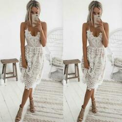 White Lace Midi Summer Dress Occident Runway Womens Sexy Party Lace Dresses $27.99