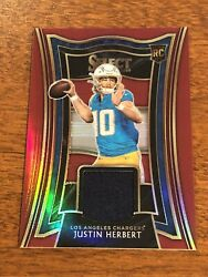 2020 Panini Select JUSTIN HERBERT Red Prizm RELIC RC Chargers SSP $129.99