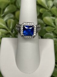 Ring Bomb Party Size 6 Cobalt Blue Spinel And White Topaz Ring $10.00