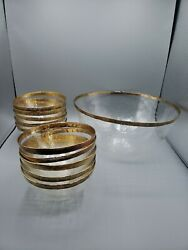 Vintage Antique Crystal Salad Bowl Set Textured Patina Service Country Chic $64.00