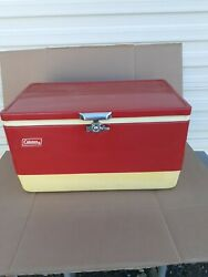Vintage Red Metal COLEMAN Ice Chest Cooler 22quot; wide made 6 82 $100.00