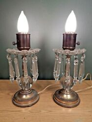 A PAIR OF VINTAGE BEDROOM LAMPS WITH 10 PRISMS EACH TO CLEAN UP AND ENJOY. $35.00