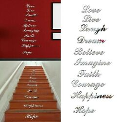 Mirror Effect Quote Wall Stickers Word Decals Art Stair Home Room Decoration DIY C $15.68