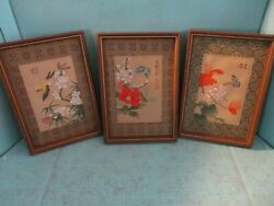 3 Vintage Asian Framed Art Prints Silk screened? 6 x8 $23.99