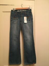 EDC by Espirit Womens Low Rise US Sz 5 Jeans Cotton Embroidered Flap Pockets NWT $18.00