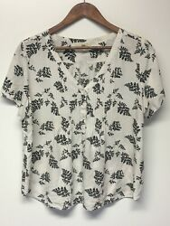 FUN2FUN WOMEN#x27;S WHITE SHORT SLEEVE V NECK BLOUSE SIZE LARGE $9.99