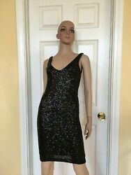 AQUA black sequin dress size S Bloomingdales party dress