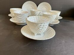 Antique Victoria Austria Pearlescent Seashell FootedCups and Matching Saucers $119.99