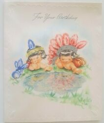 Vintage Birthday Card Little Boys Dress Up Indians Native Americans 1940s $2.99