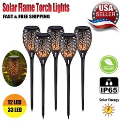Flickering LED Solar Flame Torch Light Outdoor Garden Yard Lawn Pathway Lamp $6.08