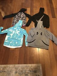 Lot Of 4 Youth Girls Sweatshirts Nike And Under Aurmour Size L and XL