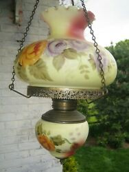 Vintage Antique Chandelier Hand Painted Glass Hurricane Ornate Beautiful VGC $169.97