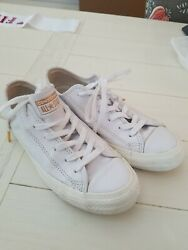 Converse all Star White leather w gold Unisex W 7 M 5 $22.99