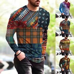 Mens Fashion T shirt Long Sleeve Muscle Tee Round Neck 3D Printed Tops Blouse $16.16
