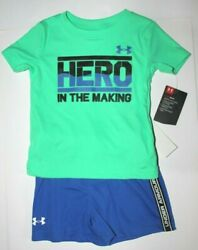 Baby Boys 12M Under Armour 2 pc set T shirt Shorts Green Blue heat gear $32 $17.95