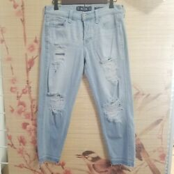 Hollister Womens Low Rise Crop Boyfriend Distressed Blue Jeans Size 27X25 $25.00