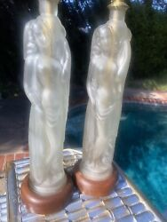 vintage lamps pair Figural liquor bottles $295.00
