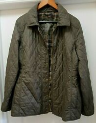 L.L. Bean Quilted Jacket Coat Size XL OLIVE GREEN excellent $34.99