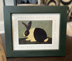 WARREN KIMBLE Bunny Green Framed Wall Art Print Rabbit Home Decor Folk Art $38.00