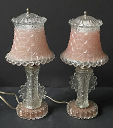 RARE PAIR Vintage *PINK GLASS Antique Lamps DIAMOND Point Candlewick BOUDOIR $224.95
