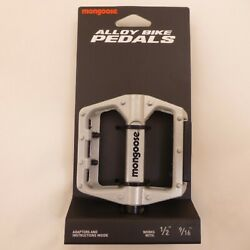 Mongoose Silver Universal Alloy Bicycle Pedals 9 16quot; or 1 2quot; Adapter Included $10.97