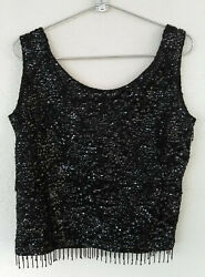 Vintage Black Sequin Tank Beaded Fringe Wool Top Lined Women#x27;s Size M Hong Kong