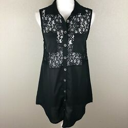 Minkpink Womens S Black Lace Pockets Boho Button Crochet Tunic Top Sheer Floral