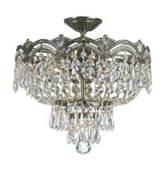 Crystorama Lighting 1483 HB CL I Majestic Three Light Semi Flush Mount in $443.20