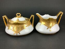 White#x27;s Art Co. 1920s Gold Encrusted Trim Hand Painted Creamer amp; Sugar Bowl $39.99
