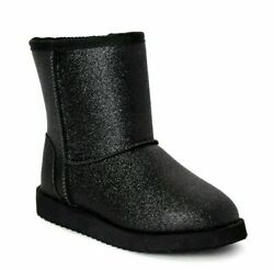 Wonder Nation Cozy Faux Shearling Boot Size 4 Little Girls color Black NWT $14.99