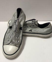 CONVERSE ONE STAR Womens Silver Glitter Slip On Shoes SIZE 7 $17.90