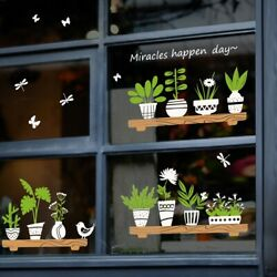 Plant Potted Shop Window Sticker Glass Door Cafe Decoration Wall Stickers $13.69