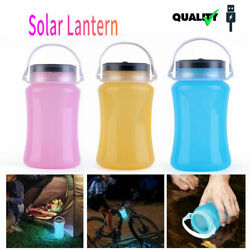 Solar Power LED Lantern Silicone Rechargeable Garden Yard Camping Outdoor Light $11.99