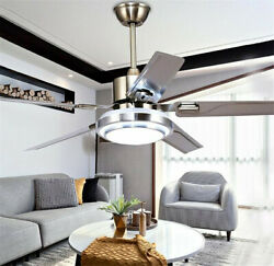 52quot; Modern Stainless Ceiling Fan Light Remote Reversible Blades LED Chandeliers $156.51