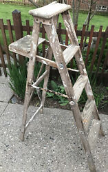 Vintage 56quot; T Wood Ladder Rustic For Home Decor Photo Shoot Circa 1950s Folding $125.00