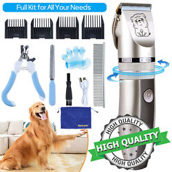 Professional USB Dog Clippers Cat Pet Grooming Kit Shaver Trimmer Cordless Set $27.35