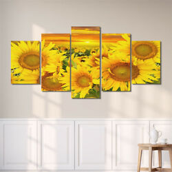 5Pcs Unframed Sunflowers Wall Art Painting Print Canvas Picture Home Room Decor $12.99