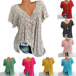 Womens Floral Pullover Tee Blouse Loose T Shirt Ladies Casual Short Sleeve Tops $10.89