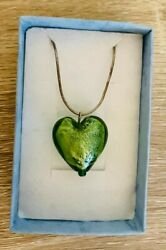 Womens Gift Boxed Silver Green Heart Necklace GBP 8.99