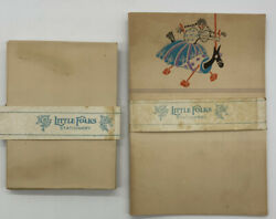 Antique 1940#x27;s Little Folks Stationery 7 Folded Paper and 9 Envelopes NO BOX $8.95
